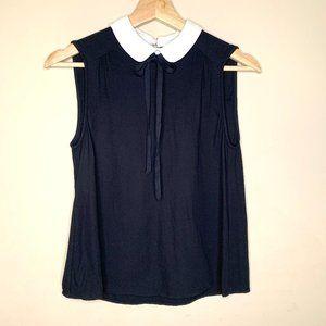 Zara Black Blouse Peter Pan Bolo Tie Collar